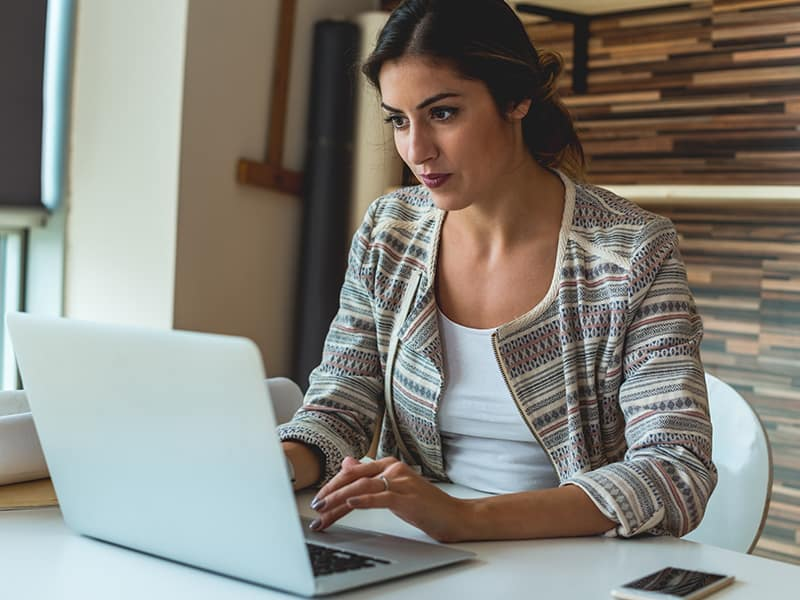 Lady studying online